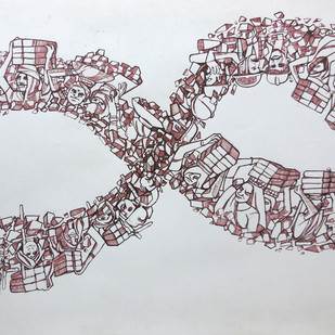 LOOP by PRASAD K V, Conceptual Drawing, Pen on Paper, Gray color
