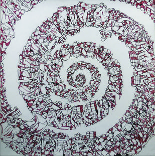 SULI (WHIRLPOOL) by PRASAD K V, Conceptual Drawing, Pen on Paper, Gray color