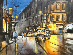KOLKATA CITY SCAPE-03 by Arpan bhowmik, Impressionism Painting, Acrylic on Canvas, Brown color