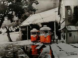 KOLKATA CITY SCAPE-04 by Arpan bhowmik, Impressionism Painting, Acrylic on Canvas, Gray color