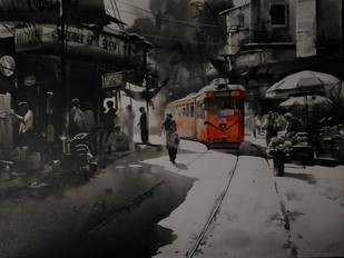 KOLKATA CITY SCAPE-05 by Arpan bhowmik, Impressionism Painting, Acrylic on Canvas, Gray color
