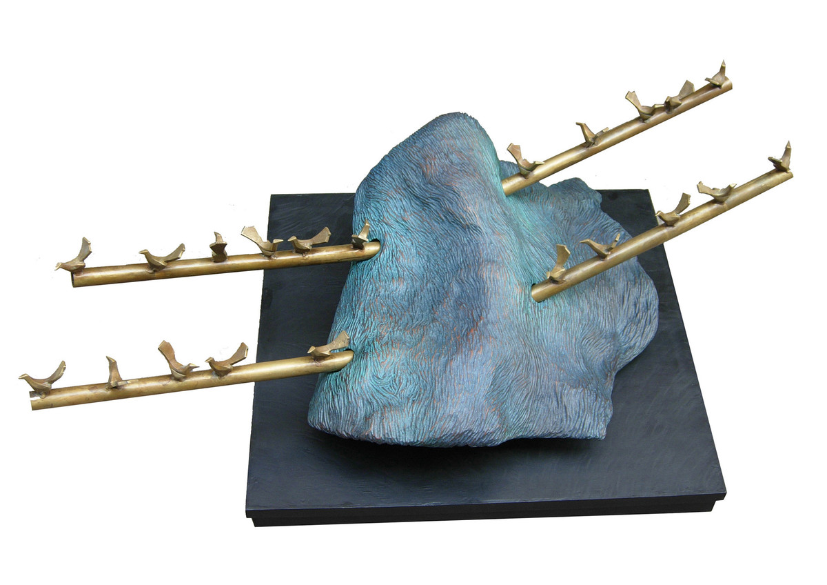 Harmony by Sukanta Chowdhury, Conceptual Sculpture | 3D, Wood & Brass, White color