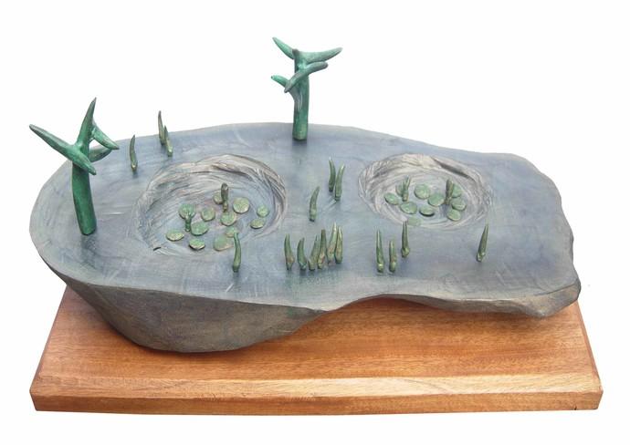 Landscape by Sukanta Chowdhury, Conceptual Sculpture | 3D, Wood & Brass, White color
