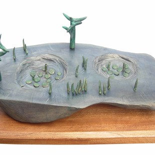 Landscape by Sukanta Chowdhury, Conceptual Sculpture | 3D, Wood & Brass, White color