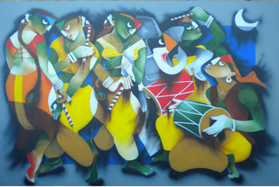 Dandiya Dance Print By Uttam Manna