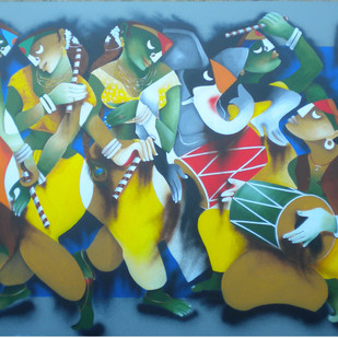 Dandiya Dance by Uttam Manna, Traditional Painting, Acrylic on Canvas, Green color