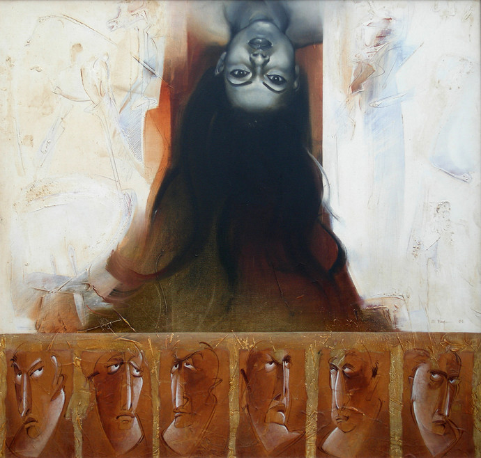 Untitled by Dipankar Ray, Conceptual Painting, Acrylic on Canvas, Brown color
