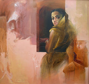 Untitled by Dipankar Ray, Realism Painting, Acrylic on Canvas, Brown color