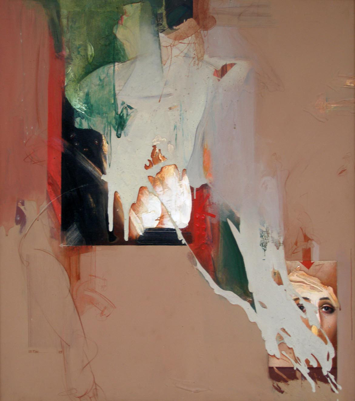 Untitled by Dipankar Ray, Expressionism Painting, Acrylic on Canvas, Brown color