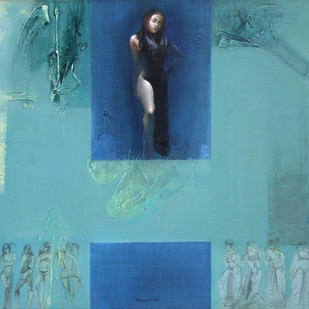 Untitled by Dipankar Ray, Expressionism Painting, Acrylic on Canvas, Cyan color