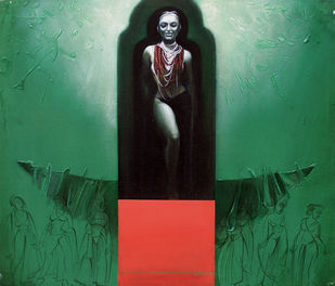Untitled by Dipankar Ray, Conceptual Painting, Acrylic on Canvas, Green color
