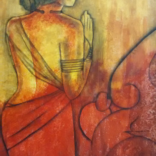 Prayer by Janaki Injety, Expressionism Painting, Acrylic on Canvas, Brown color