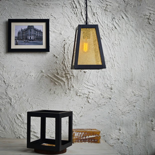 Trapezoid Glass Pendant Ceiling Lamp By The Black Steel