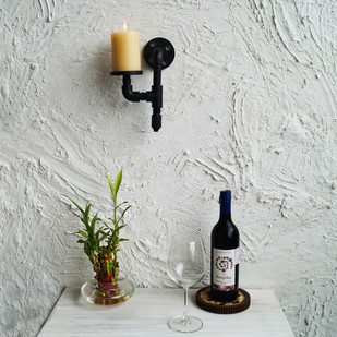 Solitary Industrial Candle Holder Wall Decor By The Black Steel