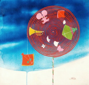 Memories of the childhood iii by shiv kumar soni, Conceptual Painting, Acrylic on Canvas, Blue color