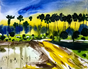 yellow road by Santosh Keshari , Impressionism Painting, Watercolor on Paper, Green color