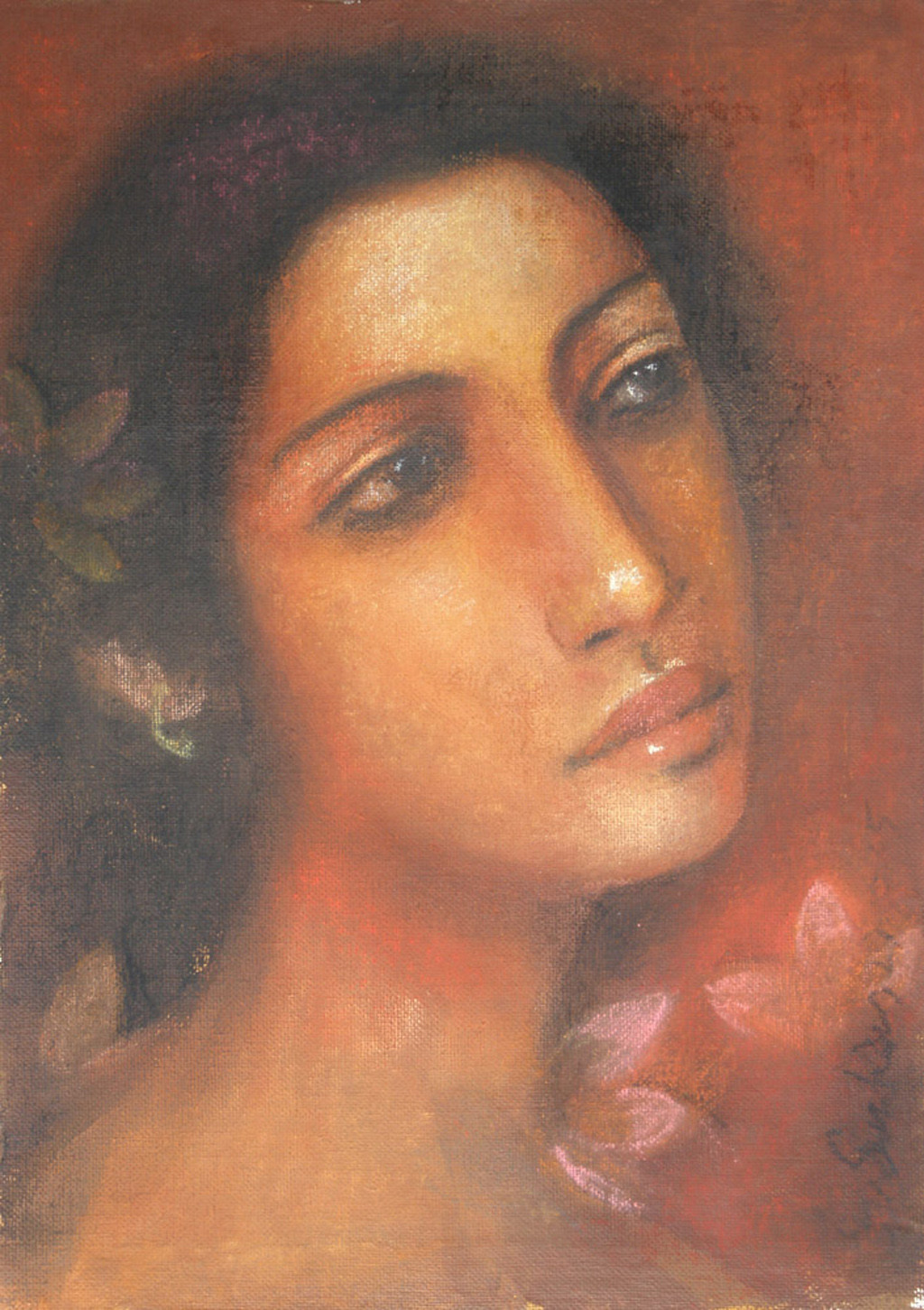 Radha - 2 by Suhas Roy, Realism Painting, Oil Pastel on Board, Brown color