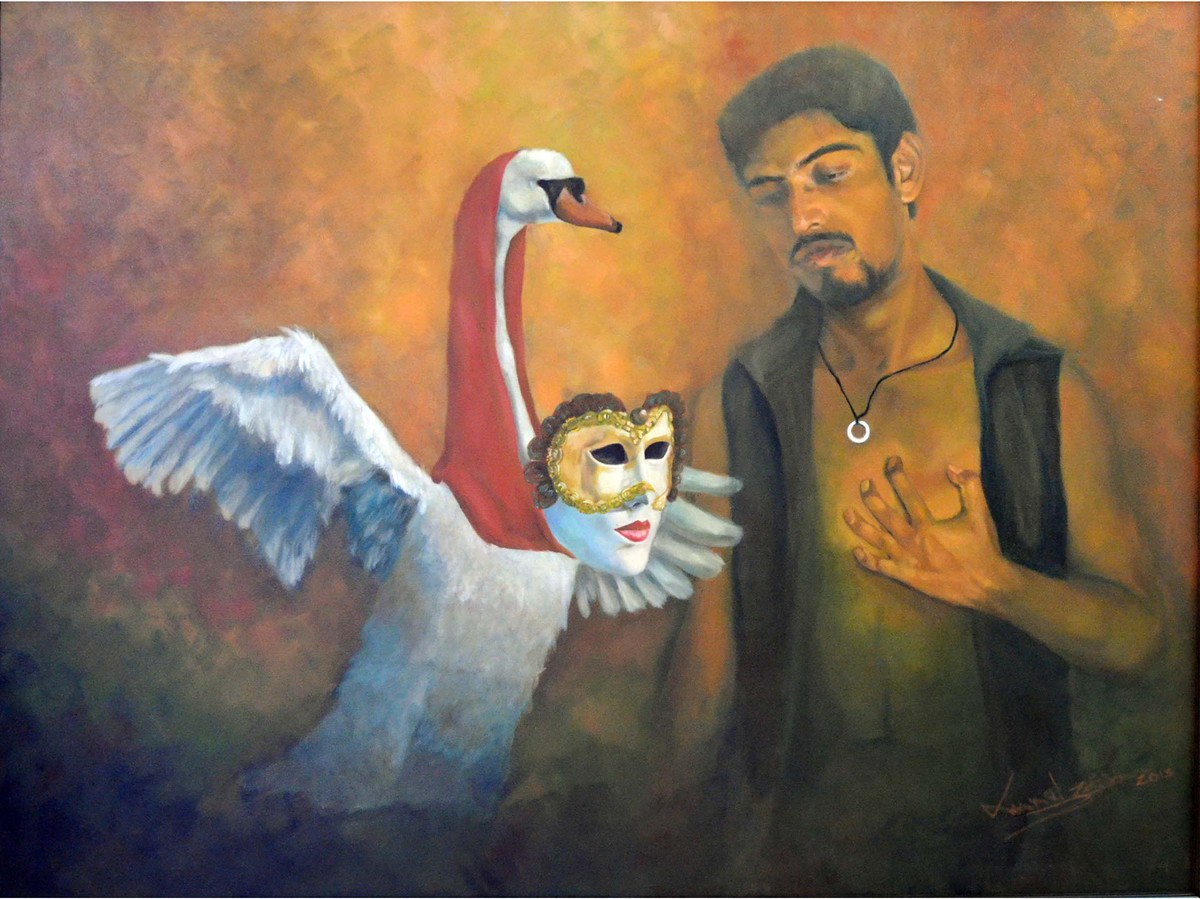 love desire II by Kunal Jain, Realism Painting, Oil on Canvas, Brown color