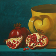 Pomegranate and Tea by Studio Zaki, Realism Painting, Acrylic on Canvas, Green color