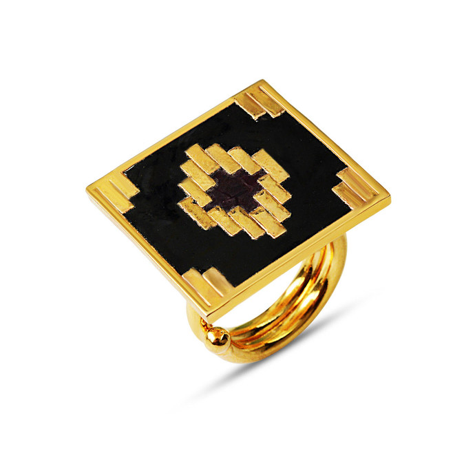 IKAT SQUARE RING by ESA, Contemporary Ring