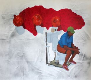 soviet syndrome of the kolkata intellectual by sabyasachi, Conceptual Painting, Acrylic on Canvas, Gray color