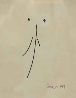 untitled by F N Souza, Minimalism Painting, Ink on Paper, Beige color