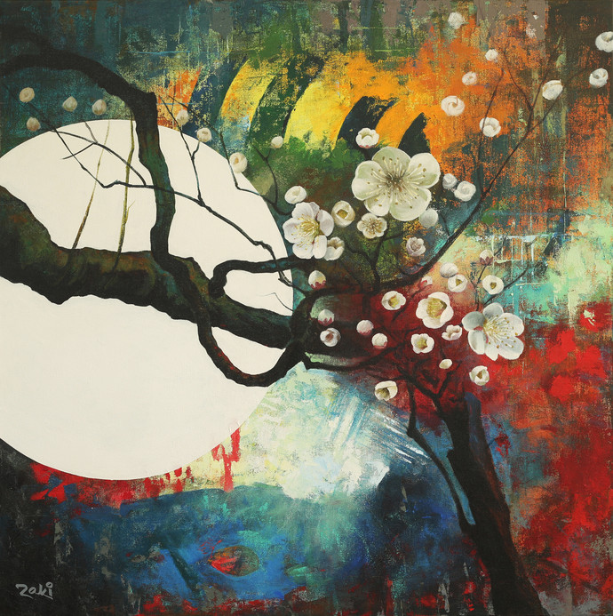 The Moonlit Evening by Studio Zaki, Impressionism Painting, Acrylic on Canvas, Brown color