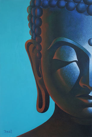 Attaining Enlightenment by Studio Zaki, Decorative Painting, Acrylic on Canvas, Cyan color