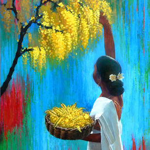 Offerings to the God by Studio Zaki, Impressionism Painting, Acrylic on Canvas, Cyan color