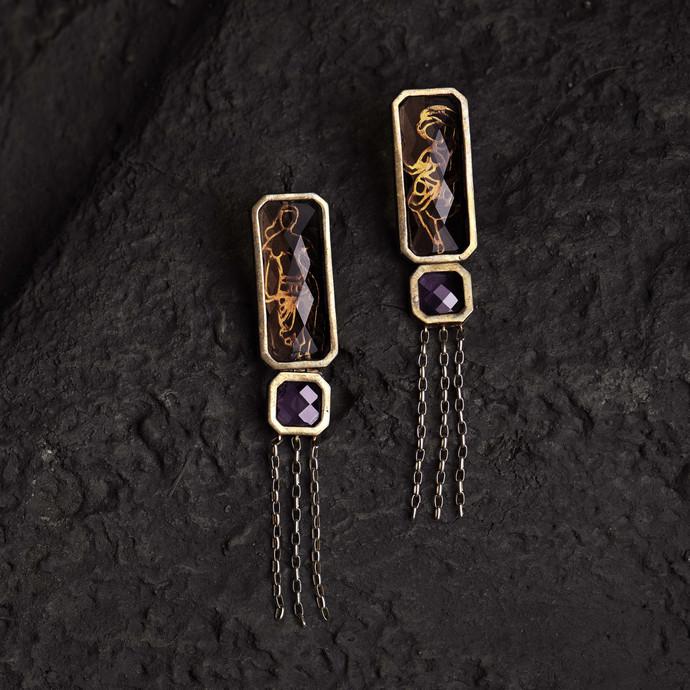 Citrine/Amethyst Mohini Earrings by Nine Vice, Art Jewellery Earring