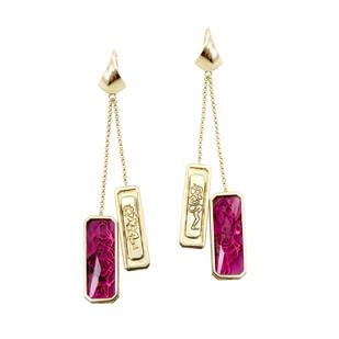 Mohini Earrings in Tourmalines by Nine Vice, Art Jewellery Earring
