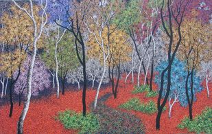 landscape by Sanjay Devsale, Impressionism Painting, Acrylic on Canvas, Brown color