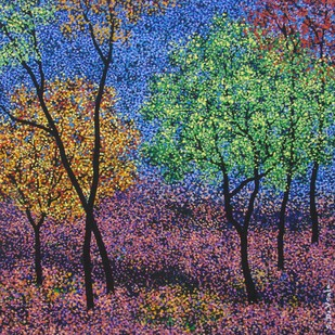 landscape by Sanjay Devsale, Impressionism Painting, Acrylic on Canvas, Blue color