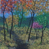 landscape by Sanjay Devsale, Impressionism Painting, Acrylic on Canvas, Green color