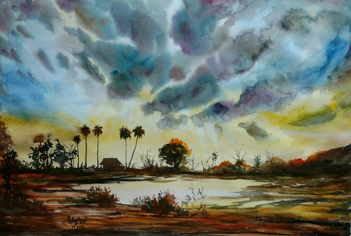 Landscape by Prabhakaran, Impressionism Painting, Watercolor on Paper, Green color