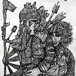RAM AND SITA by rajshree ramesh, Illustration, Impressionism Drawing, Ink on Paper, Black color