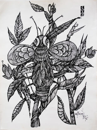 BUG by rajshree ramesh, Illustration Drawing, Ink on Paper, Black color