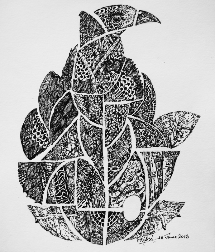 EGG by rajshree ramesh, Illustration Drawing, Ink on Paper, Black color