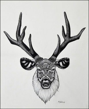 DEER by Kushal Kumar N S, Illustration Drawing, Pen on Paper, Gray color