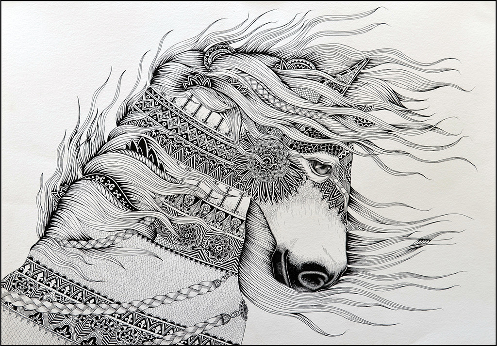 HORSE I by Kushal Kumar N S, Illustration Drawing, Pen on Paper, Gray color