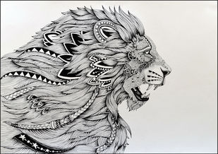 LION by Kushal Kumar N S, Illustration Drawing, Pen on Paper, Gray color