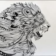 Kushal kumar ns lion 30x21 isograph pen on acid free paper 2015 40000
