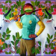 Kushal kumar ns one year project 72 x 48 oil   enamel on canvas 2011 70000