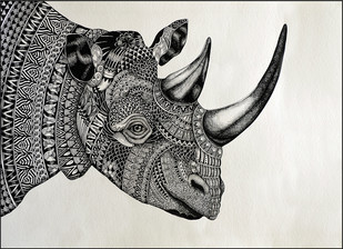RHINO by Kushal Kumar N S, Illustration Drawing, Pen on Paper, Gray color