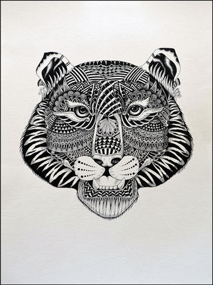 TIGER by Kushal Kumar N S, Illustration Drawing, Pen on Paper, Gray color