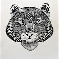 Kushal kumar ns tiger 21x15 isograph pen on acid free paper 2015 30000