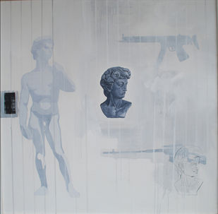 DAVID by Senthil Kumar, Conceptual Painting, Acrylic on Canvas, Gray color