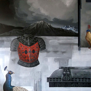 LOTA by Senthil Kumar, Conceptual Painting, Acrylic on Canvas, Gray color