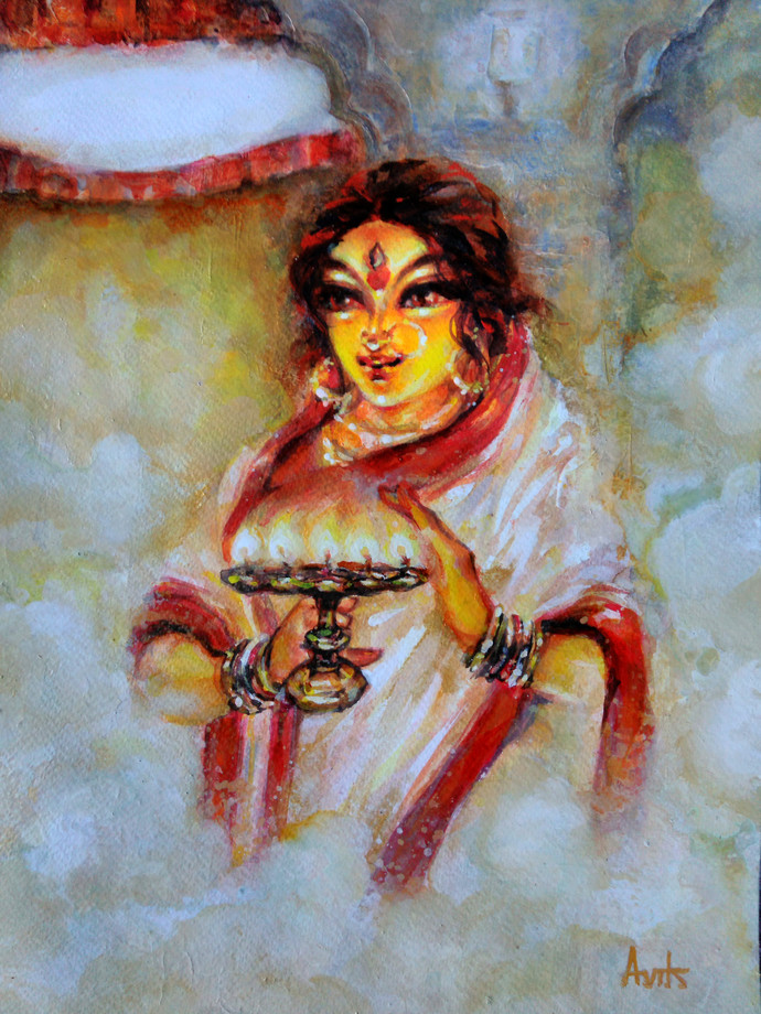 Durga by Avik Chakraborty, Expressionism Painting, Acrylic on Paper, Brown color