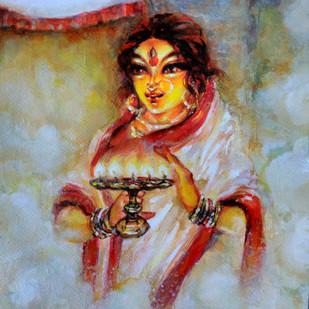 Durga Digital Print by Avik Chakraborty,Expressionism